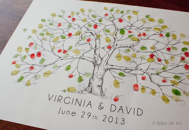 Alternative Gastebuch Hochzeit Baum Fingerabdruck Baum Etsy