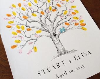 Fingerprint Tree, Wedding Guest Book Alternative, Baby Shower Guest Book, Small Twisted Oak Tree, Original Design, Thumbprint Tree