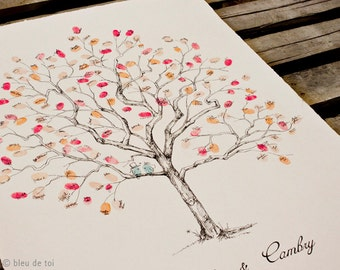 "Wedding Guest Book Alternative, Fingerprint tree, New Size 20x30"" Jacaranda Design, rustic wedding, custom guest book, alternative guestbook"