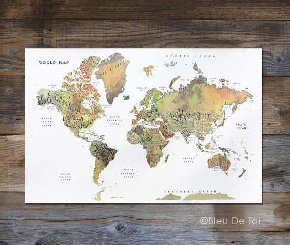 Watercolor World Map, Hand lettered map, fine-art map, large wall map, home  decor, explorer map print, nursery art, gender neutral