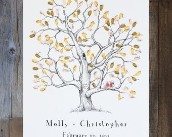 Fingerprint tree, Wedding Guest Book Alternative, Medium Elm Tree, Original Design, Wedding Guest Book, thumbprint tree, Rustic Wedding