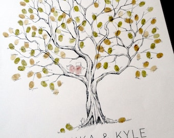 Olive Wedding Tree, Fingerprint Tree, Alternative Wedding Guest Book Original Hand-drawn Design, Thumbprint Tree on Watercolor paper