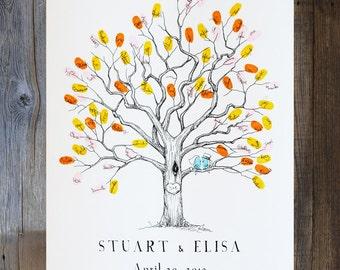 Fingerprint Tree, Wedding Guest Book Alternative, unique guestbook, XS Twisted Oak, custom guest book, rustic wedding, guest book tree