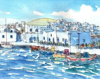 Paros Naoussa Port 2 Greece art print from an original watercolor painting