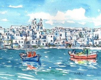 Paros Naoussa Port, Greece art print from an original watercolor painting