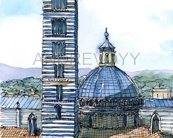 Siena 7, Italy art print from an original watercolor painting