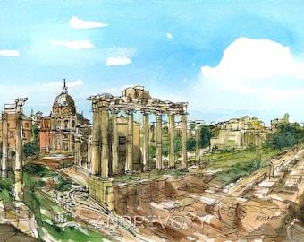 Rome Roman Forum Italy art print from an original watercolor