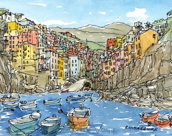 Riomaggiore,  Italy, art print from an original watercolor painting