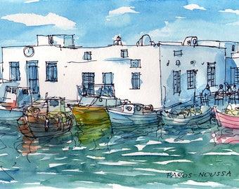 Paros Naoussa Harbour 3 Greece art  print from original watercolor painting