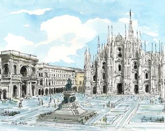 Milan Italy art print from an original watercolor painting