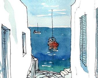 Paros Boat Greece art print from original watercolor painting