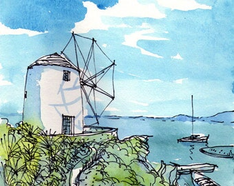 Paros Wind Mill, Greece, art print of watercolor painting drawing, signed
