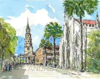 Charleston SC art print  from an original watercolor painting