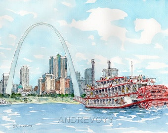 St. Louis, art print from an original watercolor painting