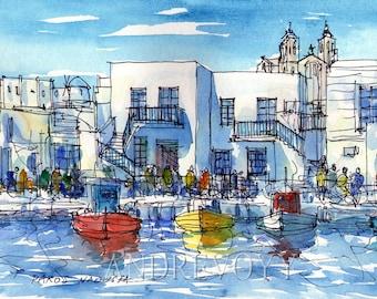 Paros Naoussa Harbour Greece art  print from original watercolor painting