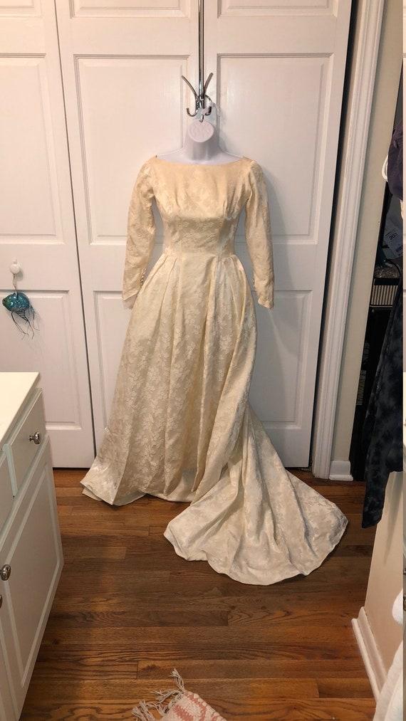 Stunning vintage raw silk brocade winter wedding d