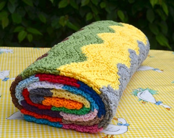 Crocheted ripple blanket in pure cotton in 20 colours (95 x 125 cm)