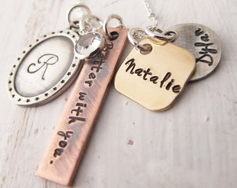 Mixed Metals Mother's Necklace, Hand Stamped Jewelry, Grandmother, Kids Name Necklace, Life is better with you, Rustic, Mother's Day Gift