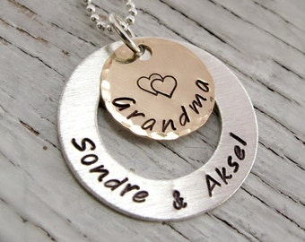 Personalized Grandmother Necklace, Handstamped, Gold and Silver,  One, Two or Three Names - For Grandma, Mother, Nana, Chrstmas Gift