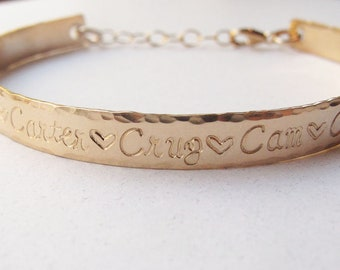 Personalized Gold Filled 14k Cuff Bracelet, Hand Stamped Mother's Bracelet, Grandmother's Bracelet, Mother's Day Gift