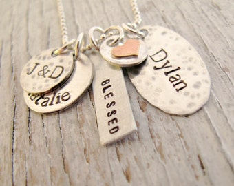 Personalized Family Necklace, Mother's Necklace, Grandma, Kids Names Necklace, Hand Stamped, Sterling Silver, Mother's Day Gift