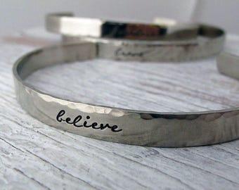 Believe, Fearless, Brave, Inspirational Cuff, Handstamped Bracelet, Silver