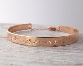 Rose gold filled 14k cuff bracelet, Hand Stamped Mother's Bracelet, Handstamped Jewelry, Personalized, Mother's Day Gift