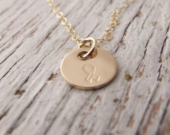 FREE SHIPPING, Breast Cancer Necklace, Awareness Jewelry, Hand Stamped, Gold Filled 14k, Inspirational Jewelry
