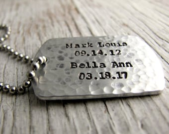 Reserved Listng for Paulette- Father's Gift, Personalized Dog Tag Necklace, Men's Jewelry, Military Jewelry, Gift for Him