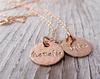 New! Rose Gold 14k Personalized Mother's Necklace, Hand Stamped Jewelry, Grandmother Necklace, Kid's Names, Mother's Day Gift