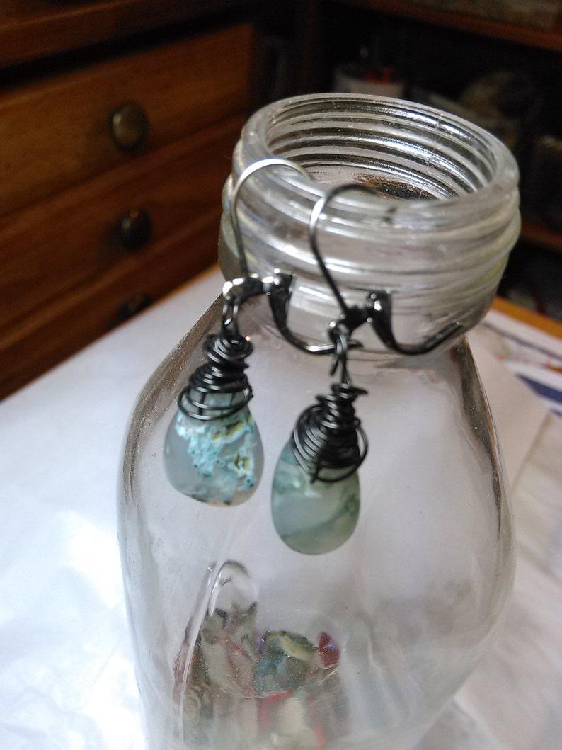 Natural Moss Agate Drop Earrings