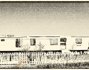 Mobile home mobile homes 10 x 20 white picket fence Abandoned home Rustic photography rustic wall art black and white photograph fine art