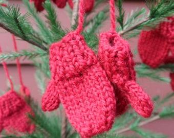 Tiny Miniature Hand Knit Mitten Ornaments