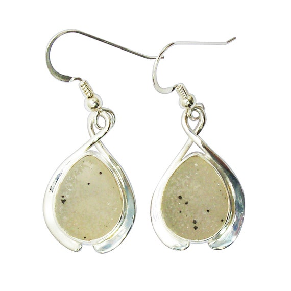Druzy Agate and Sterling Silver Dangle Earrings  edrze3169