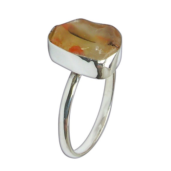 Orange Beach Glass and Sterling Silver Ring, Size 7  r7bglc3089