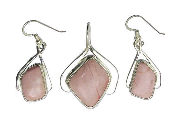 Pink Common Opal and Sterling Silver Pendant and Earring Set  soplj3315