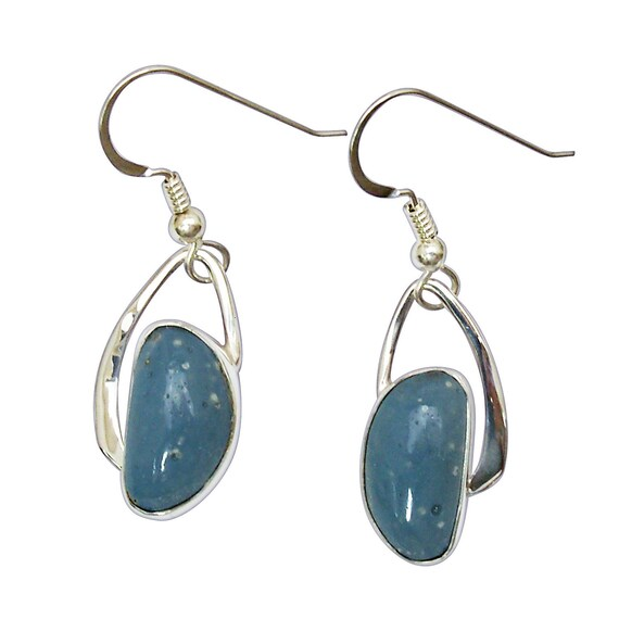 Leland Bluestone and Sterling Silver Dangle Earrings, Hand Crafted One of a Kind  elbse3092
