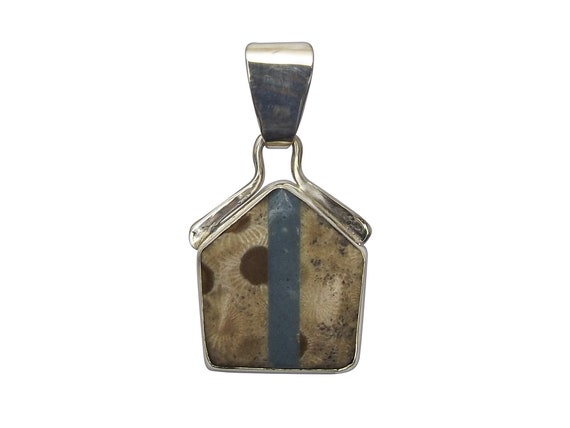 Petoskey Stone and Leland Bluestone Intarsia Pendant set in Sterling Silver, Hand Crafted, One of a Kind  ppkylbg3352