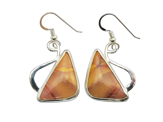 Australian Mookaite and Sterling Silver Earrings, emkte3307