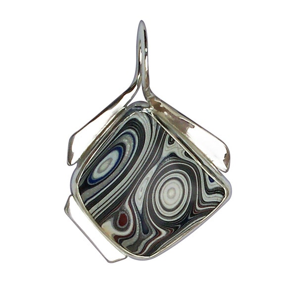 Fordite and Sterling Silver  One of a Kind Pendant, pfrdg3119