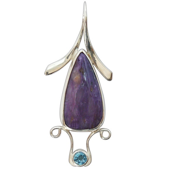 Charoite, Blue Topaz and Sterling Silver Pendant  pchth2146