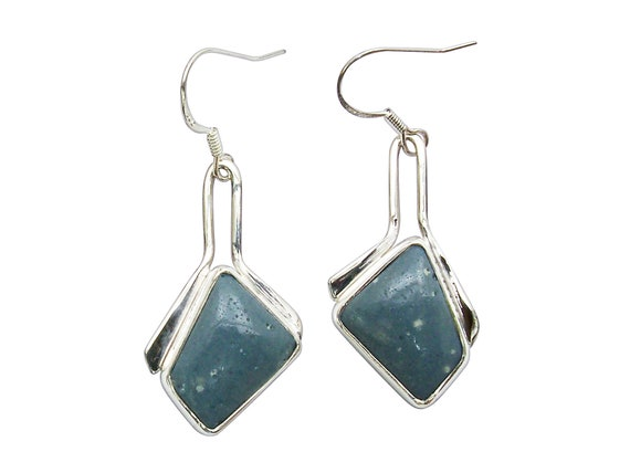 Leland Blue Stone and Sterling Silver Dangle Earrings  elbse3254