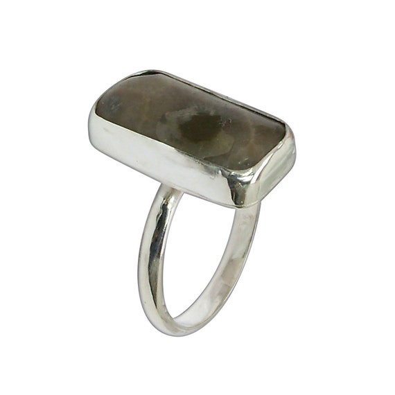 Petoskey Stone and Sterling Silver Ring, Size 6-1/2  r65pkyd3107
