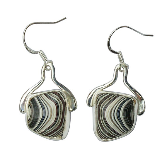 Fordite and Sterling Silver Dangle Earrings, Hand Crafted One of a Kind  efrde3218