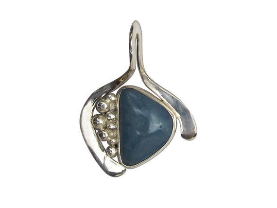 Leland Bluestone Pendant set in Sterling Silver, Hand Crafted, One of a Kind  plbsf3355