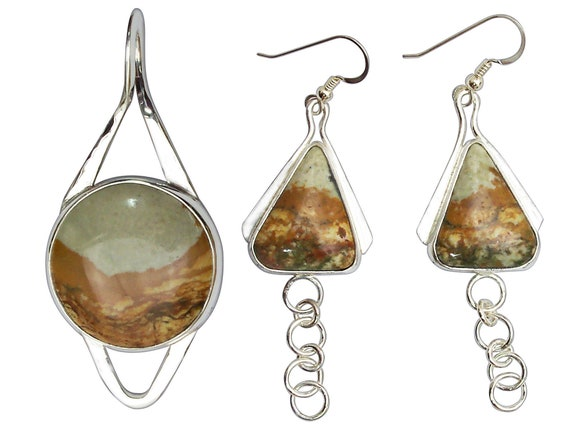 Picture Jasper and Sterling Silver Pendant and Earring Set  ppjg3284