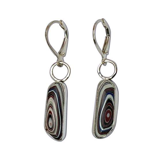 Fordite and Sterling Silver Dangle Earrings, Hand Crafted One of a Kind  efrde3113