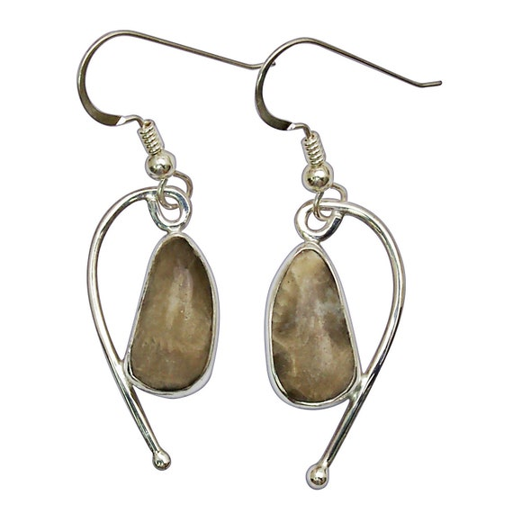 Petoskey Stone Dangle Earrings set in Sterling Silver, One of a kind  epkye3103
