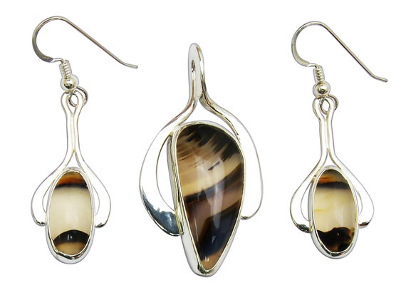 Montana Agate and Sterling Silver Pendant and Earring Set  smntj3312