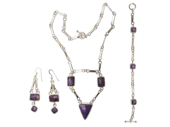 Charoite and Sterling Silver Necklace, Earring, and Bracelet Set  schaj3335
